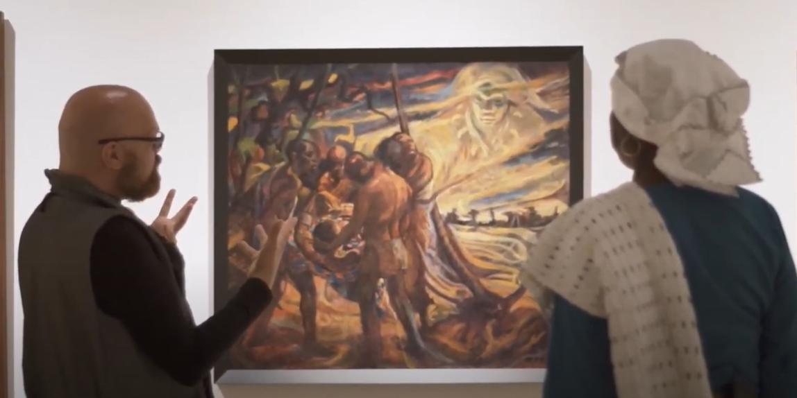 Bart Krieger & Marian Markelo bij een schilderij